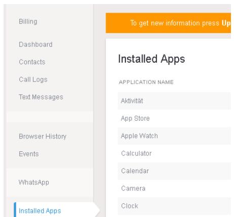 installed apps mspy